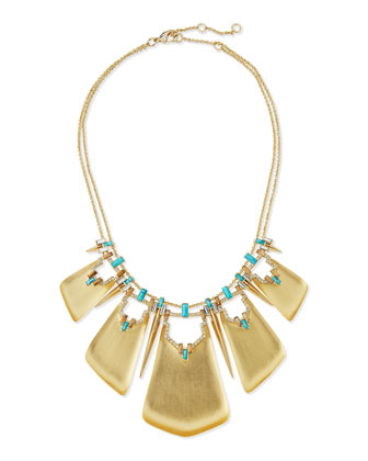 Lucite Enamel Spiked Bib Necklace