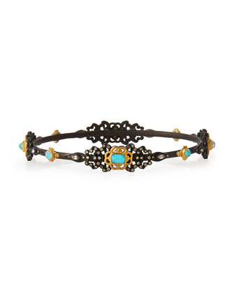 Double Dagger Blue Turquoise Bangle