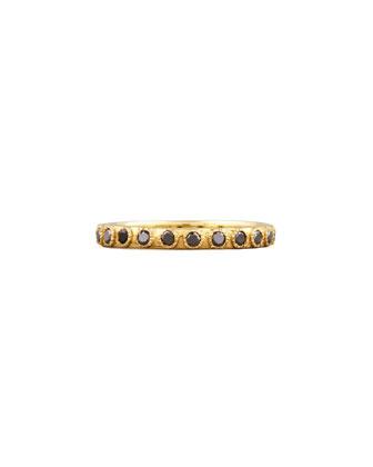 Slim Eternity Black Diamond Gold Band Ring