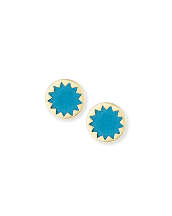 Sunburst Button Earrings, Teal