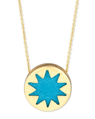 Mini Sunburst Pendant Necklace, Teal