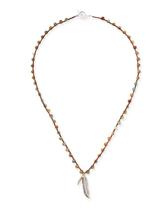Beaded Necklace with Feather Charm