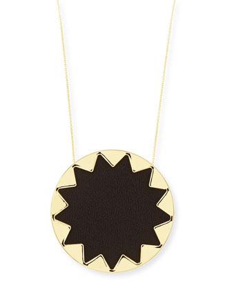 Sunburst Pendant Necklace, Black, 28