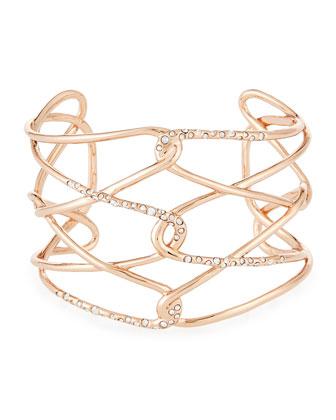 Rose Golden Barbed Crystal Cuff Bracelet, Miss Havisham Rose Golden Liquid ...