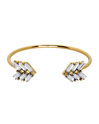 Gold-Plated Cubic Zirconia Arrow Cuff