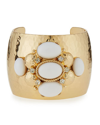 Crystal & Cabochon Cuff Bracelet, White