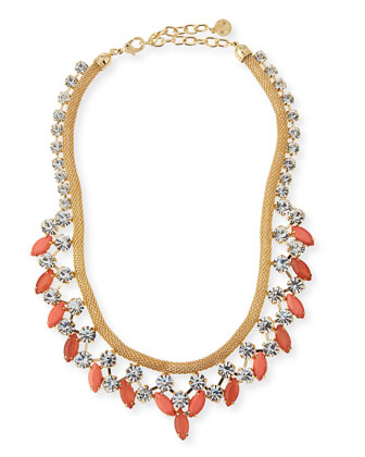 Crystal Statement Necklace, Golden/Coral