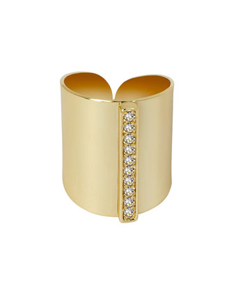 Gold-Plated Wide Ring with Cubic Zirconia