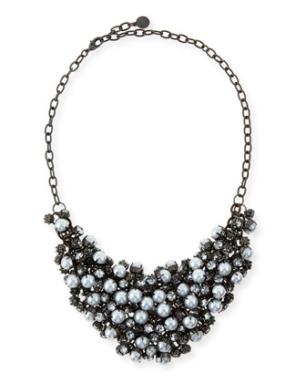 Pearly Crystal Mesh Bib Necklace