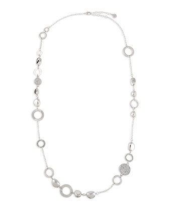Silvertone Crystal Disc Necklace