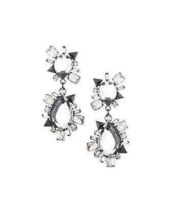 Crystal Statement Earrings, Gunmetal