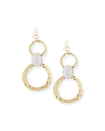 Cabochon Circle Link Drop Earrings
