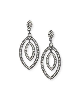 Pave Crystal Petal Drop Earrings