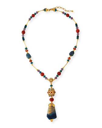 Long Multi-Stone Pendant Necklace, Blue