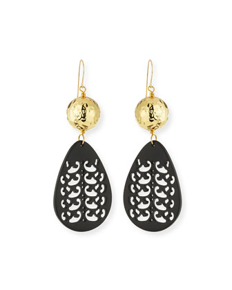 Carved Black Horn Teardrop Earrings