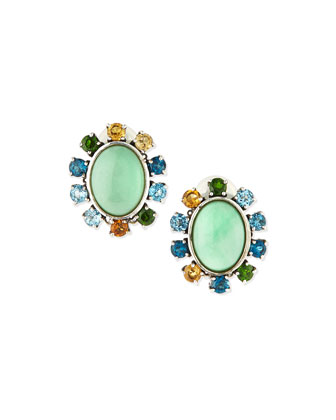 Oval Variscite Clip-On Earrings with Multi-Stone Rays