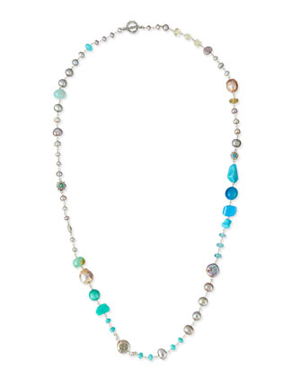 Silver Multi-Stone Long Necklace