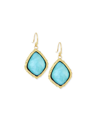 Old World Blue Turquoise Kite Earrings