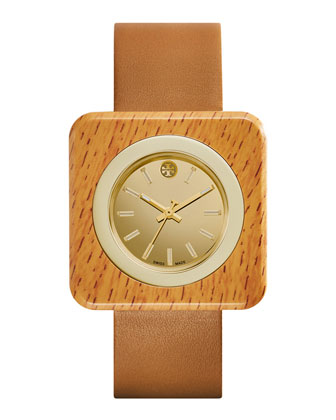 Izzie Leather-Strap Golden Watch, Tan