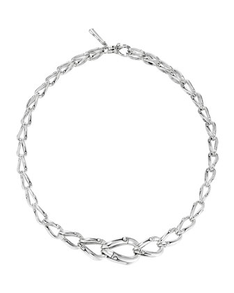 Bamboo Graduated Silver Necklace, 17