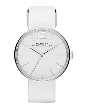 36mm Stainless Leather Strap Watch, White