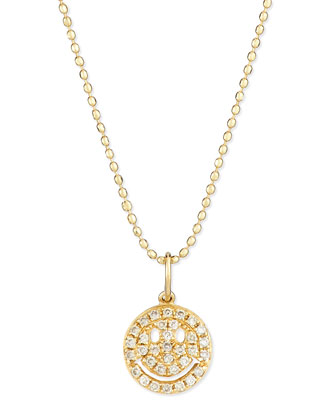 14k Gold Diamond Happy Face Pendant Necklace