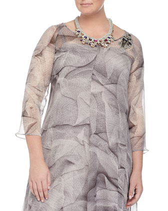 Dorothy Soft Printed Dress W/ Brooch & Laos Crystal Necklace, Women's