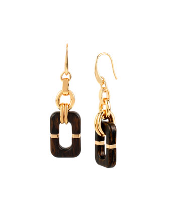 Geometric Wood Link Drop Earrings