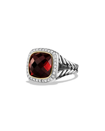 Albion Ring with Garnet and Diamonds with 18k Gold
