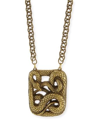 Antiqued Snake Pendant Necklace, 32