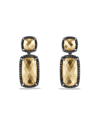 Chatelaine Double Drop Earrings in Gold with Diamonds