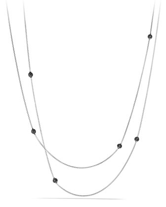 Bead Necklace with Black Diamonds, 36