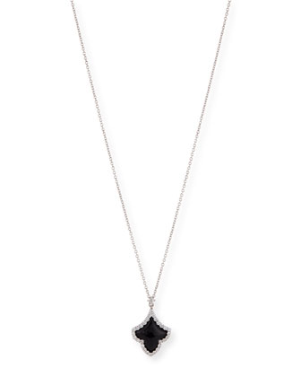 18k White Gold Art Deco Diamond & Black Jade Pendant Necklace