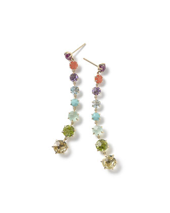 18k Rock Candy 8-Stone Dangle Earrings in Summer Rainbow