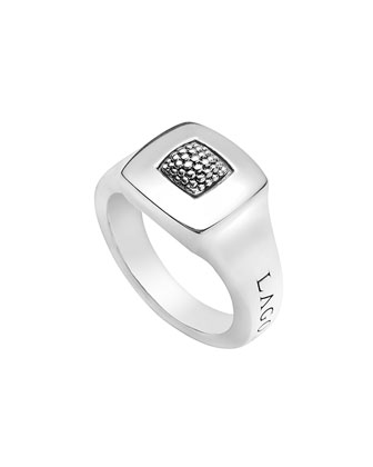 Imagine Silver Square Ring, Size 7