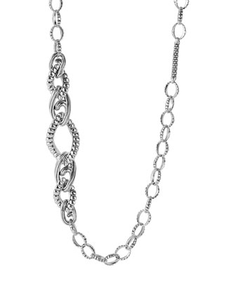 Caviar Silver Bar & Circle Link Necklace, 36