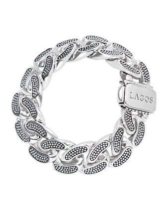 Caviar Silver Curb Chain Bracelet