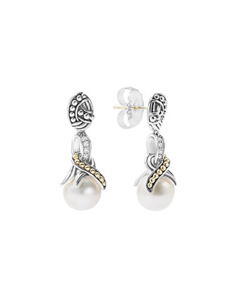 Luna Diamond Pearl Drop Earrings