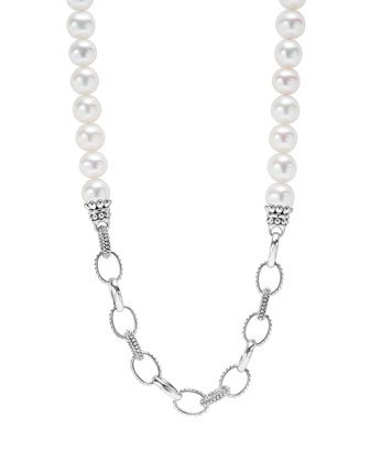 Luna Pearl & Caviar Link Necklace, 34