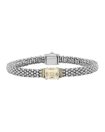 Prism Champagne Quartz Caviar Bracelet, 6mm