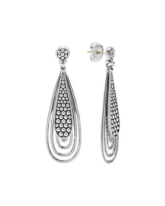 Caviar Silver Teardrop Earrings