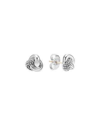 Caviar Silver Knot Stud Earrings