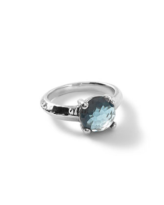 Silver Rock Candy Knife Edge Ring in London Blue Topaz