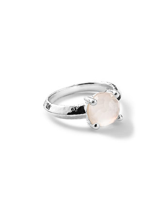 Silver Rock Candy Knife Edge Ring in Quartz/Mother-of-Pearl