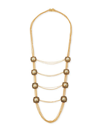 Military Pearly & Crystal Chain Necklace
