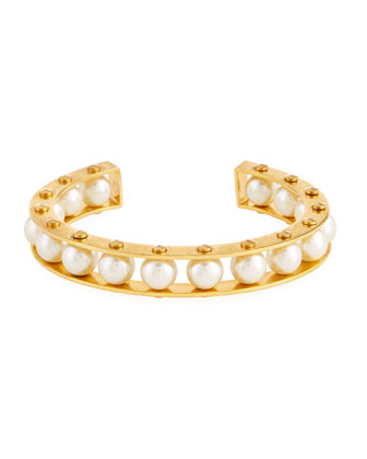 Riveted Gold-Plated Slider Cuff Bracelet