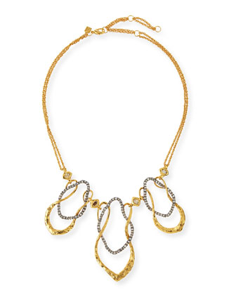 Crystal Wavy Link Bib Necklace