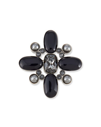 Signature Pearly & Crystal Brooch, Ruthenium/Gray
