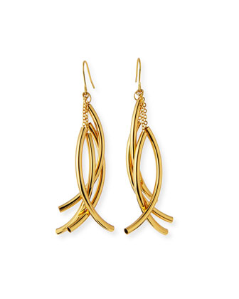 Gold-Plated Twisted Drop Earrings