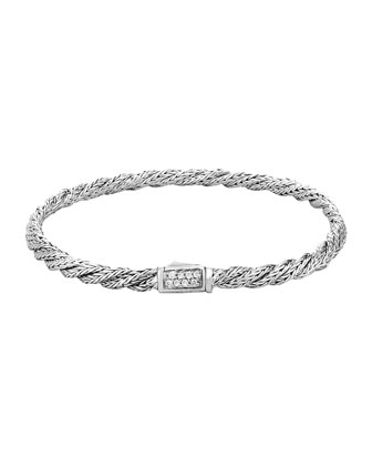 Classic Chain Slim Twisted Diamond Bracelet, Size M